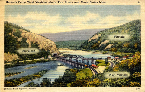 Harper's Ferry West Virginia Maryland Virginia Where Two Rivers Three States Meet Postcard (unused) - Vintage Postcard Boutique