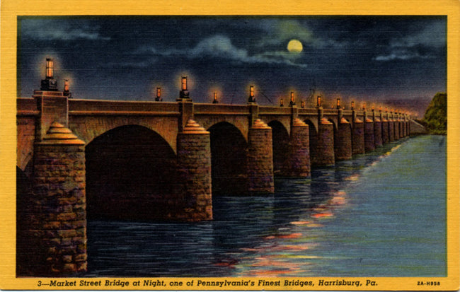 Market Street Bridge at Night Harrisburg Pennsylvania Vintage Postcard (unused) - Vintage Postcard Boutique