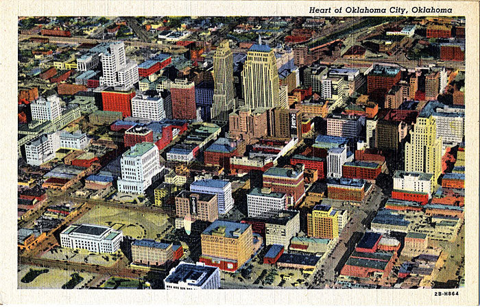 Oklahoma City OK Aerial View Vintage Postcard 1942 (unused) - Vintage Postcard Boutique