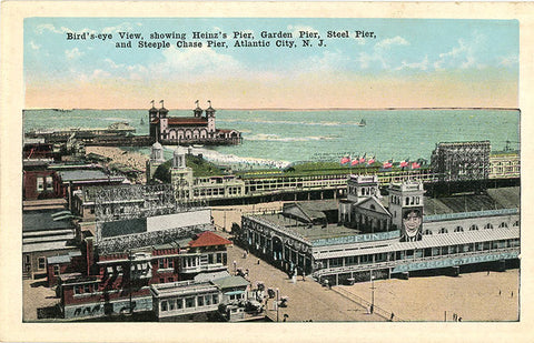 Atlantic City New Jersey Heinz's Pier Garden Pier Steel Pier Steeple Chase Pier Vintage Postcard (unused) - Vintage Postcard Boutique