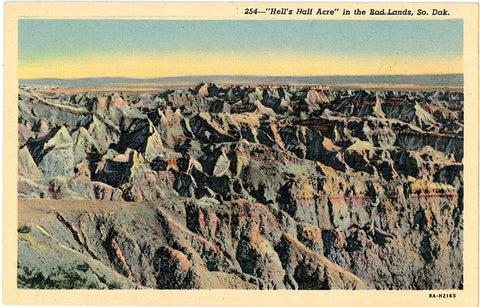 Badlands National Monument Hell's Half Acre South Dakota Vintage Postcard (unused) - Vintage Postcard Boutique