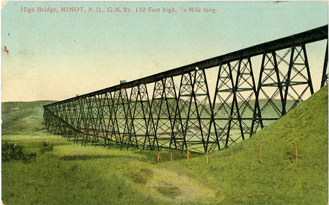 Minot North Dakota High Bridge Great Northern Railway Vintage Postcard 1908 - Vintage Postcard Boutique