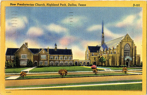 Dallas Texas Highland Park Presbyterian Church Vintage Postcard - Vintage Postcard Boutique