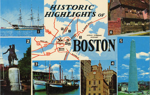 Historic Boston Massachusetts Map Multi View Vintage Postcard (unused)