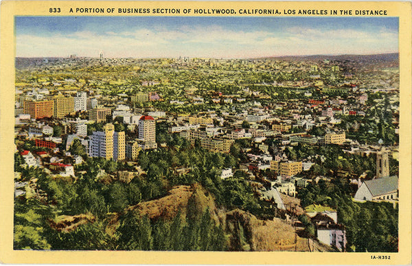 Hollywood California Business Section Aerial Vintage Postcard 1944 - Vintage Postcard Boutique