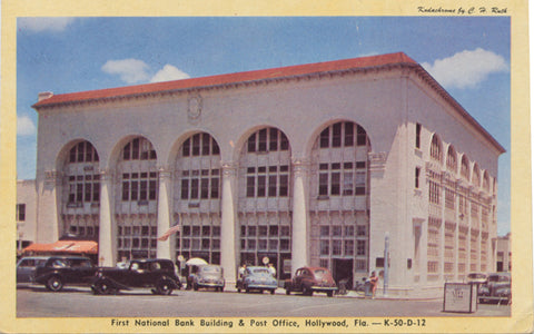 Hollywood Florida First National Bank Post Office Vintage Postcard (unused) - Vintage Postcard Boutique