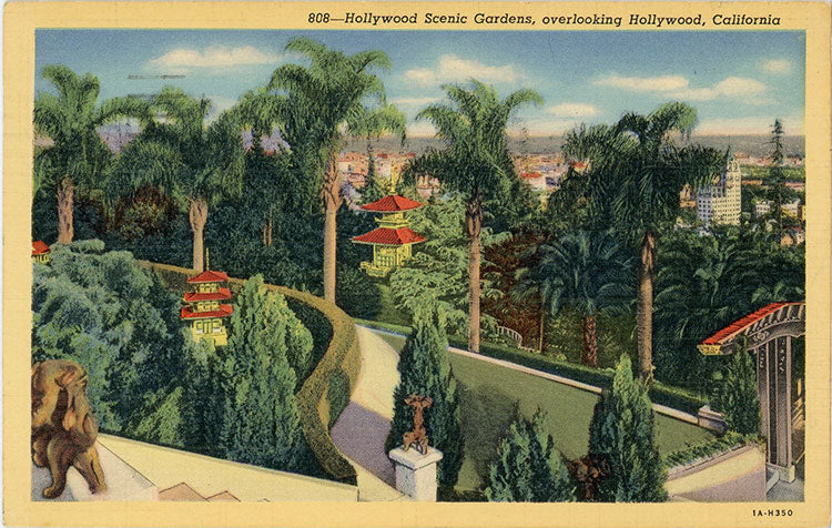 Hollywood Scenic Gardens Chinese Palace California Vintage Postcard 1941 - Vintage Postcard Boutique