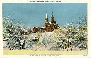Holy Hill Wisconsin in Winter Vintage Postcard (unused) - Vintage Postcard Boutique
