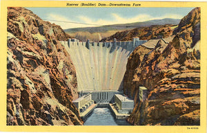 Hoover Boulder Dam Nevada Downstream Face Vintage Postcard (unused) - Vintage Postcard Boutique
