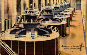 Lake Mead Hoover Boulder Dam Generators Nevada Vintage Postcard (unused)