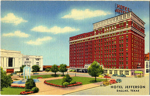 Dallas Texas Hotel Jefferson Vintage Postcard (unused) - Vintage Postcard Boutique