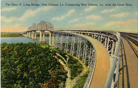New Orleans Louisiana Huey P Long Bridge Vintage Postcard (unused)
