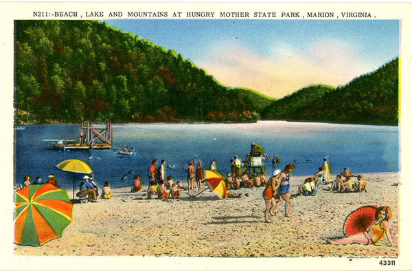 Marion Virginia Hungry Mother State Park Beach Scene Vintage Postcard (unused) - Vintage Postcard Boutique