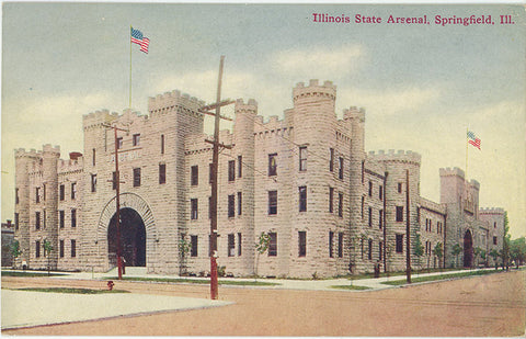 Illinois State Arsenal Springfield Vintage Postcard circa 1910 (unused) - Vintage Postcard Boutique
