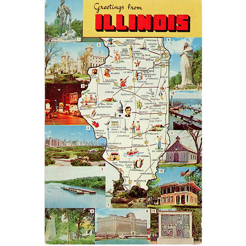 Illinois State Map Multi-View Scenic Vintage Postcard (unused)