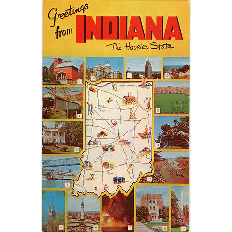 Indiana Multi View State Map Vintage Postcard 1960s (unused) - Vintage Postcard Boutique