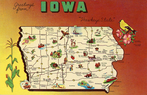 Iowa State Map Hawkeye State Vintage Postcard (unused) - Vintage Postcard Boutique