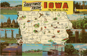 Iowa State Map Tall Corn State Vintage Postcard (unused) - Vintage Postcard Boutique