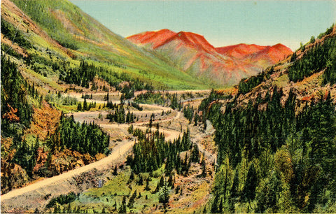 Ironton Loops & Red Mountains Million Dollar Highway Vintage Colorado Postcard (unused)