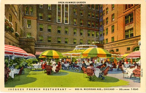 Chicago Illinois Jacques French Restaurant Open Summer Garden Vintage Postcard (unused) - Vintage Postcard Boutique