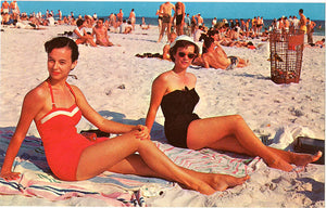 Jekyll Island Georgia Bathing Beauties Sun Bathing on Beach Vintage Postcard (unused) - Vintage Postcard Boutique
