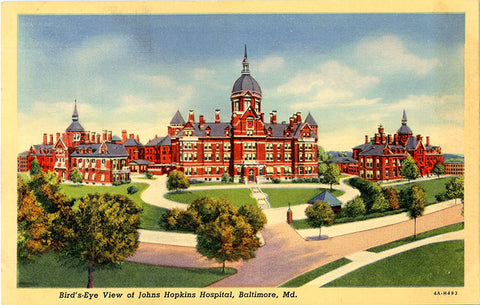 Baltimore Maryland Johns Hopkins Hospital Vintage Postcard (unposted) - Vintage Postcard Boutique