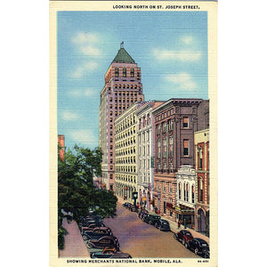 Mobile Alabama St. Joseph Street Merchants National Bank Vintage Postcard (unused) - Vintage Postcard Boutique