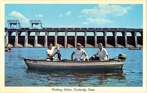 Kentucky Lake Dam Tennessee River Fishing Angler Vintage Postcard 1958 - Vintage Postcard Boutique