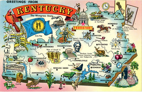 Kentucky State Map Vintage Postcard 1973 - Vintage Postcard Boutique