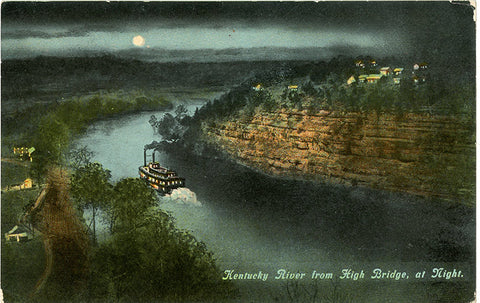 Kentucky River from High Bridge at Night Vintage Postcard circa 1910 (unused) - Vintage Postcard Boutique