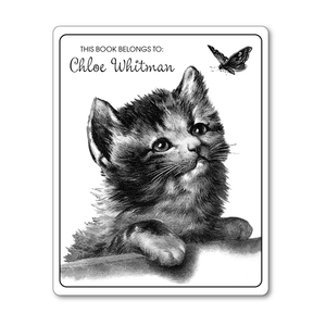 Butterfly and Kitten Vintage Personalized Bookplates - STOCKING STUFFER - Vintage Postcard Boutique