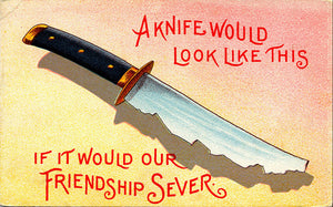 Friendship Sever – A Knife Would Look Like This Vintage Postcard (unused) - Vintage Postcard Boutique