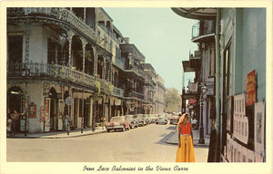 New Orleans Louisiana Iron Lace Balconies Vieux Carre Vintage Postcard circa 1950s (unused)