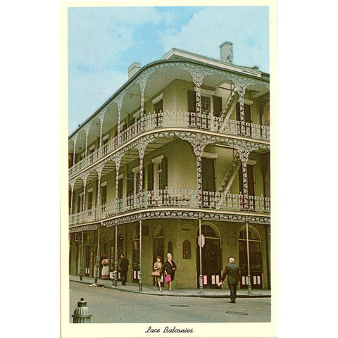 New Orleans Louisiana Iron Lace Balconies Royal Street Vintage Postcard circa 1950s (unused)