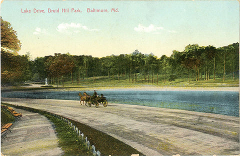 Baltimore Maryland Lake Drive Druid Hill Park Vintage Postcard 1909 - Vintage Postcard Boutique