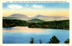 Lake Lanier in Blue Ridge Mountains North South Carolina State Line Vintage Postcard (unused) - Vintage Postcard Boutique