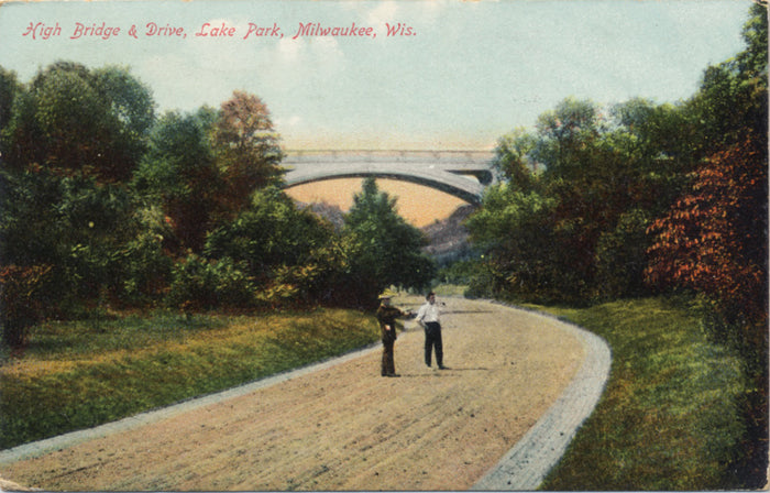Milwaukee Wisconsin High Bridge Drive Lake Park Vintage Postcard 1909 - Vintage Postcard Boutique