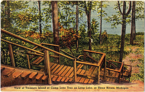 Three Rivers Michigan Treasure Island Camp Lone Tree Vintage Postcard 1944 - Vintage Postcard Boutique
