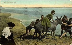 Long Beach California Woman Riding Donkey Vintage Postcard 1911 - Vintage Postcard Boutique