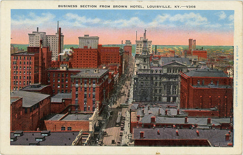 Louisville Kentucky Business Section from Brown Hotel 1930s Vintage Postcard (unused)