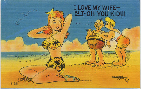 Comic Vintage Postcard - Men Ogling Woman on Bikini on Beach (unused) - Vintage Postcard Boutique