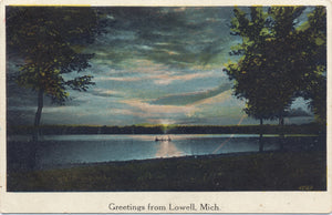 Lowell Michigan Scenic Lake Sunset Vintage Postcard 1925 - Vintage Postcard Boutique