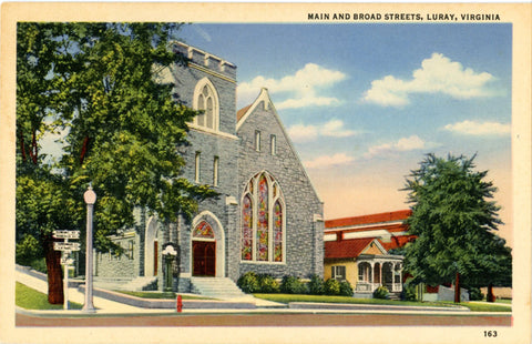 Luray Virginia Main & Broad Streets Methodist Church Vintage Postcard (unused) - Vintage Postcard Boutique