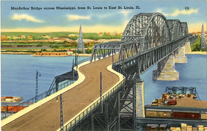 MacArthur Bridge Across Mississippi River St. Louis Missouri Vintage Postcard (unused)