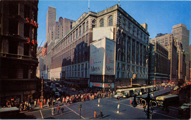 Macy's Department Store Herald Square New York City Vintage Postcard 1950s (unused) - Vintage Postcard Boutique