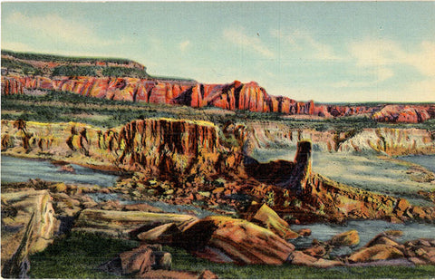 Mammoth Rock Formation on New Mexico & Arizona State Line Vintage Postcard (unused) - Vintage Postcard Boutique