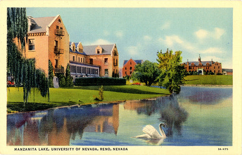 University of Nevada Manzanita Lake Reno Nevada Vintage Postcard (unused) - Vintage Postcard Boutique