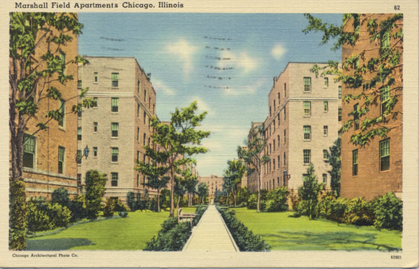 Chicago Illinois Marshall Field Apartments Vintage Postcard 1939 - Vintage Postcard Boutique