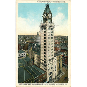 Baltimore Maryland Casualty Building North Street Vintage Postcard circa 1920 - Vintage Postcard Boutique