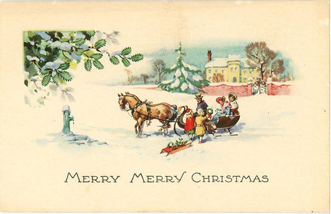 Snowy Merry Christmas Horse & Sled Greetings Vintage Postcard circa 1910 (unused) - Vintage Postcard Boutique